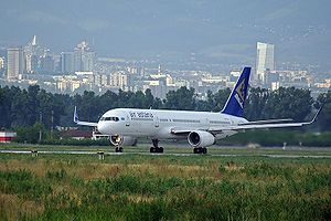 Air astana plane taking off