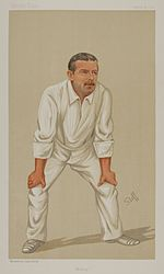 Caricature of a cricketer dressed in whites, posed in catching stance