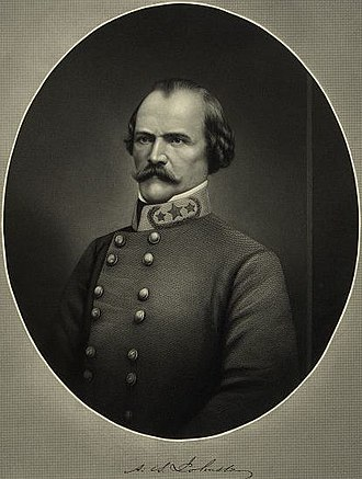 Albert Sidney Johnston - Albert S. Johnston in Confederate Army uniform wearing Three Gold Stars and Wreath on a General's Collar