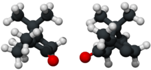 Ball and stick model of camphor (both enantiomers).