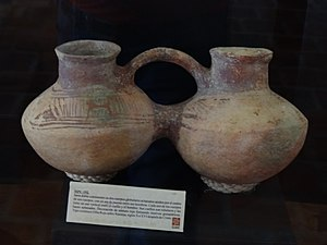 Guane people - Guane doubled-chambered, ceramic, stirrup-spout vessel, 10th–16th century CE, exhibited at Chicamocha National Park