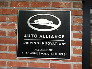 Alliance of Automobile Manufacturers - In Washington, DC, the Alliance of Automobile Manufacturers Plaque on their HQ.