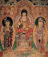 Amitabna buddha wall painting in Geungnakjeon Hall of Muwisa Temple.jpg