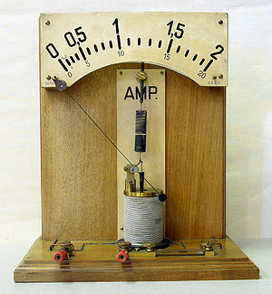 Ampere - Demonstration model of a moving iron ammeter. As the current through the coil increases, the plunger is drawn further into the coil and the pointer deflects to the right.