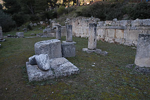 Amphiareion of Oropos - Interior view of the Temple of Amphiaraos showing interior colonnade and arm of an acrolithic statue