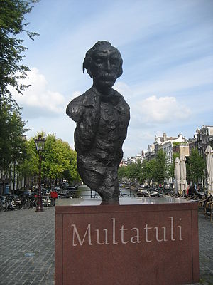 Multatuli - Statue of Multatuli on a square over the Singel canal in Amsterdam.