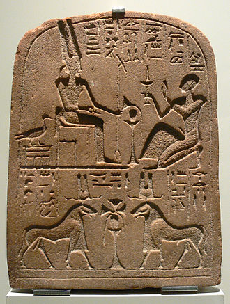 Greylag goose - Ancient Egyptian stele showing Amun-Ra as goose, man, and ram. 25th dynasty, c. 700 B.C.
