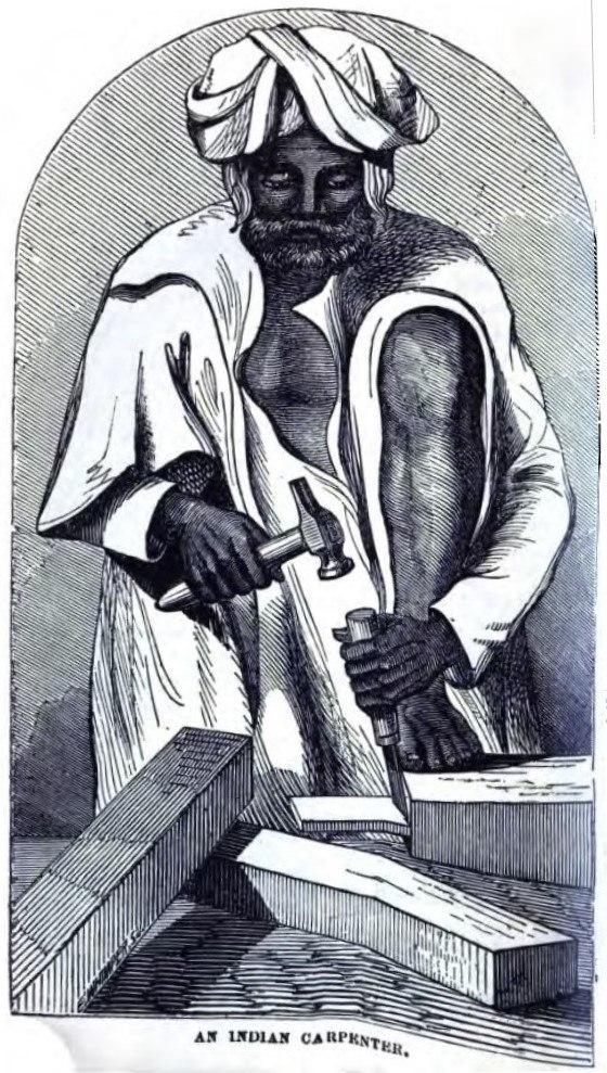 An Indian Carpenter (p.48, Richard G Hodson, Carpenters in India, Bangalore 9 September 1856) - Copy