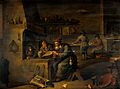 An alchemist in his laboratory. Oil painting by a follower o Wellcome V0017652.jpg