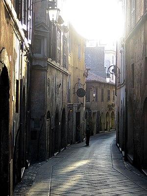 Filippo Coletti - Via Maggiore (now: Via Vittorio Emanuele) in Anagni, the street of Filippo Coletti's birth house