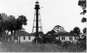 Anclote Keys Light - Anclote Keys Lighthouse when it was still manned (by U.S. Coast Guard archives)