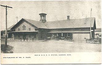 Andover station (MBTA) - Image: Andover station postcard (2)