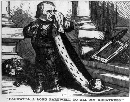 """Farewell to all my greatness"": Harper's Weekly cartoon mocking Johnson on leaving office Andrew Johnson, Farewell to all my greatness cph.3a03724.jpg"