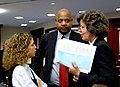 Anne Gannon confers with Debbie Wasserman Schultz and Terry Fields.jpg