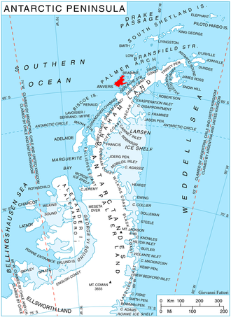 Perrier Bay - Location of Anvers Island in the Antarctic Peninsula region.