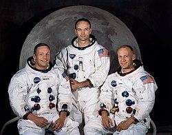 De gauche à droite Armstrong, Collins et Aldrin.