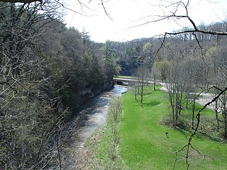 Apple River Canyon State Park - The Apple River viewed from a bluff in Apple River Canyon State Park