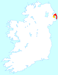 Location of the Ards Peninsula (red) within Ards Borough district (red & orange).