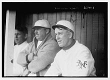 Arlie Latham in the dugout during a game in 1909.