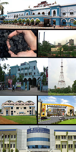 Asansol cityscape Clockwise from top: Asansol Railway Station, IISCO Steel Plant, TV Tower, Galaxy Mall, Asansol Engineering College, Asansol Indoor Stadium, Rabindra Bhavan, Eastern Coalfields Limited