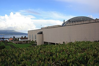 Legislative Assembly of the Azores - An oblique view of the assembly building and its dome, looking towards the Faial-Pico channel and the island of Pico