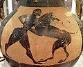 Athenian black-figure amphora, 6th century BC, Heracles wrestling with the Nemean lion, Ashmolean Museum (8401769980).jpg
