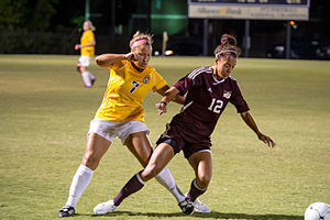 Midwestern State Mustangs - The Mustangs women's soccer team in action against Texas A&M–Commerce in 2014