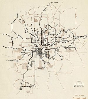 Streetcars in Atlanta - Map of Atlanta's streetcar system and other transit in 1946