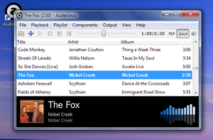Audacious (software) - Audacious with GTK+-based interface running on Windows 7.