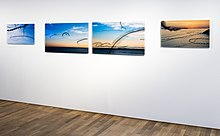"Iskiographies displayed in Lothar's exhibition ""AIRLINES · Bird Tracks in the Air at the Museum of Man and Nature, Nymphenburg Palace, 2016."