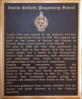 Austin Catholic Preparatory School - Austin Commemorative Plaque, St. Clare's Church, Grosse Pointe Park, MI