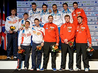 2014 European Fencing Championships - Podium of the men's team sabre: Italy, Russia, and Germany
