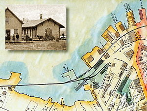 Belfast, Maine - The Belfast rail yard in 1875; MEC-built station house c1880.