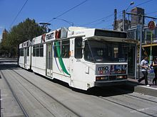 A B2 class tram operating a Spencer Street-bound service.
