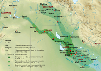 First Babylonian Dynasty - Maximum extent of the Paleo-Babylonian Empire during the reign of King Hammurabi's son, Samsu-iluna of Babylon reaching as far west as Tuttul (light green), c. 1750 BC — c. 1712 BC