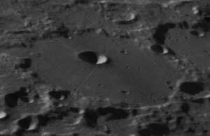 Baillaud (crater) - Oblique view of Baillaud from Lunar Orbiter 4