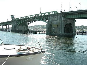 Ballard Bridge - Image: Ballard Bridge from Seattle Maritime Academy 01