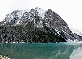 Fairview Mountain (Alberta) - Fairview Mountain from the shoreline of Lake Louise