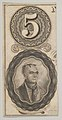 Banknote motifs- the number 5 and a portrait of Thayendanegea MET DP837948.jpg