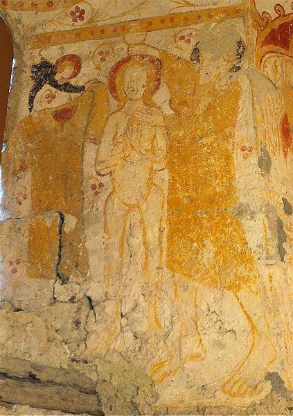 Peinture du chœur de l'église Saint-André de Taxat - représentation d'un baptême