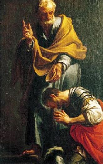 Apostolic Age - Peter Baptizing the Centurion Cornelius, by Francesco Trevisani