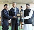 Barack Obama being presented a memento, at Rajghat, in Delhi on January 25, 2015. The Minister of State (Independent Charge) for Power, Coal and New and Renewable Energy, Shri Piyush Goyal is also seen.jpg