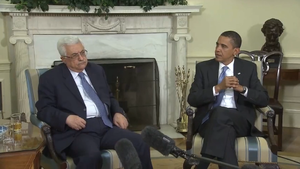 English: Barack Obama meets with Mahmoud Abbas...