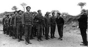 Kataeb Regulatory Forces - Bashir Gemayel and William Hawi supervising training of Kataeb militiamen at Tabrieh, 1972.