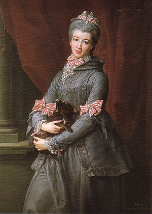 1750–75 in Western fashion - Lady Mary Fox wears a grey silk hooded Brunswick gown with striped ribbon ornaments, 1767.