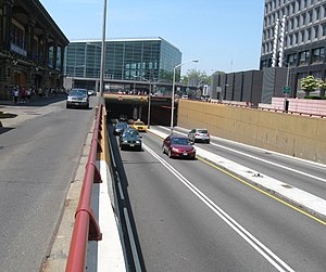 Battery Park Underpass - Eastern portal at the FDR Drive in front of the Battery Maritime Building
