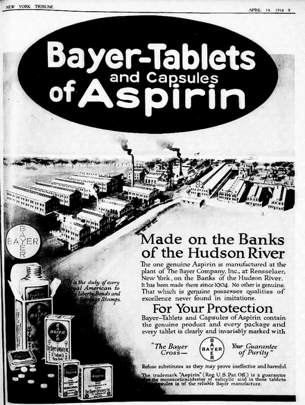 "Newspaper ad for Bayer Aspirin from April 1918. The aspirin patent had expired, Bayer still had control over the Aspirin trademark, seen at the bottom of the ad, and a ""patriotic"" slogan to buy war bonds. Also shows the factory in New York State. Bayer-Tablets of Aspirin ad 1918.png"
