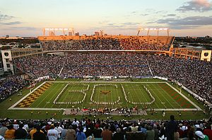 "Bethune–Cookman University - The Marching Wildcats (The Pride) of Bethune–Cookman create the ""BCU"" formation while playing before a packed Citrus Bowl Stadium at the Florida Classic."