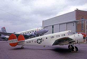 RAF Mildenhall - Beech C-45 Expediter and Douglas C-117D Super Dakota communications aircraft of NAF Mildenhall at their home base in 1966