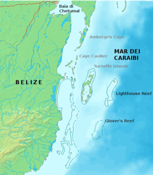 Glover's Reef - Map of Belize's southern islands, with Glover's in the bottom right corner.